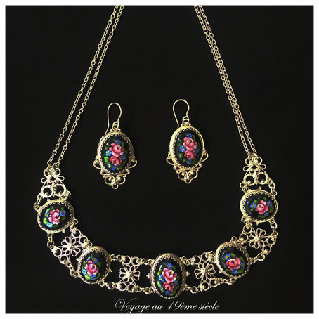 bijoux en émail Bordeux , bijoux 19ème, cadeux de Noel