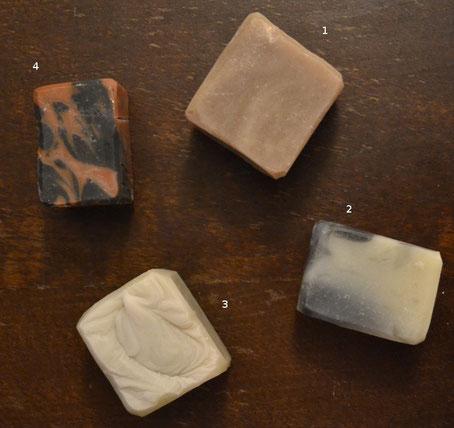 1 : Savon Simplissime (coloré à la cannelle), 2 : Savon Black & White, 3 : Savons des marins, 4 : Savon Terre de Feu.