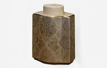 Bote de cerámica dorado Damasco