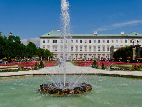 Wasserspiele  im Barockgarten von Schloss Mirabell