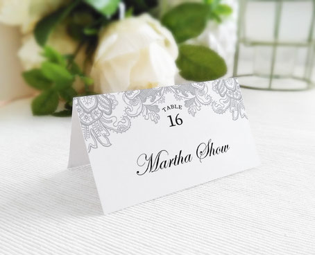 Silver Wedding Name Place Cards