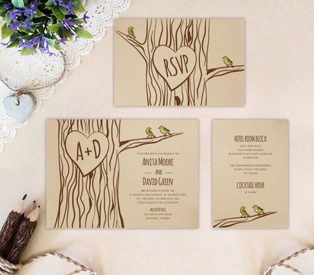 kraft wedding invitations set