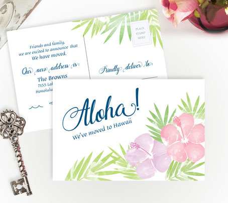 Hawaii Moving Announcement Cards