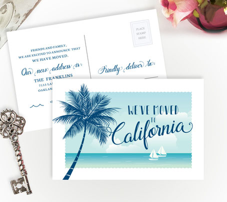 California Moving Announcement Postcards