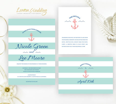 Beach wedding invitations packs
