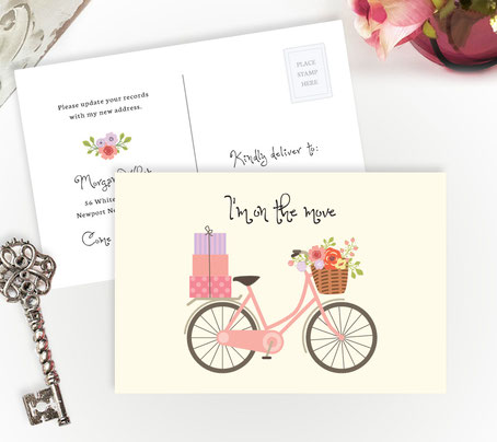 Pink Bicycle Moving Postcards