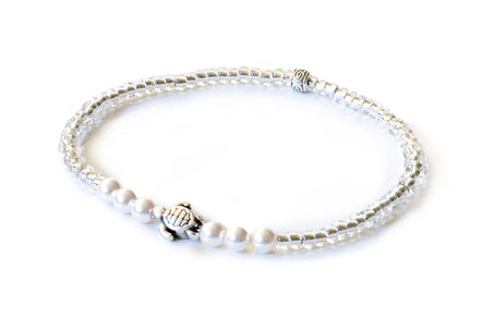 hundestrand Armband Schildkröte maritim Swarovski Perlen weiß silber