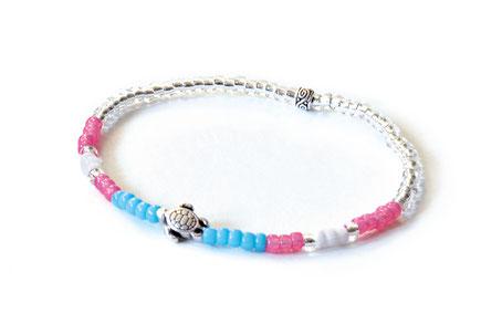 hundestrand Armband Schildkröte maritim Perlen pink weiß blau