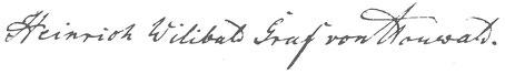 Signum Heinrich Wilibald von Houwald, 1853.
