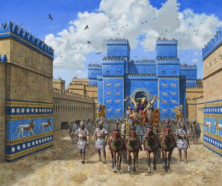 Le lion ailé est typique de l'art babylonien. Les Hébreux déportés à Babylone « le joyau des royaumes, la splendeur orgueilleuse des Chaldéens » d'après Esaïe, ont pu admirer les plus de 120 lions ailés des bas reliefs du chemin de procession à Babylone.