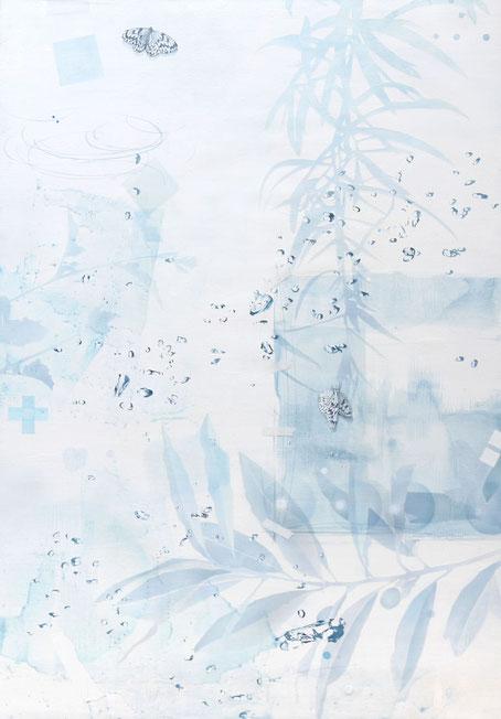アクリル絵画 水の絵 泡の絵 透明感 蝶の絵 植物
