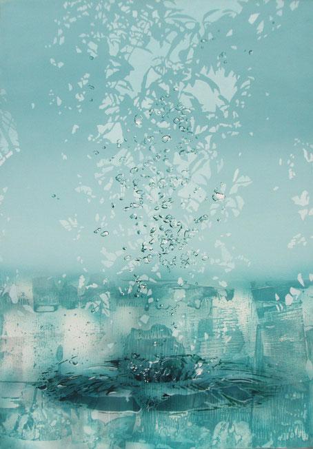 アクリル絵画 水の絵 泡 幻想的な絵 透明感のある絵 植物