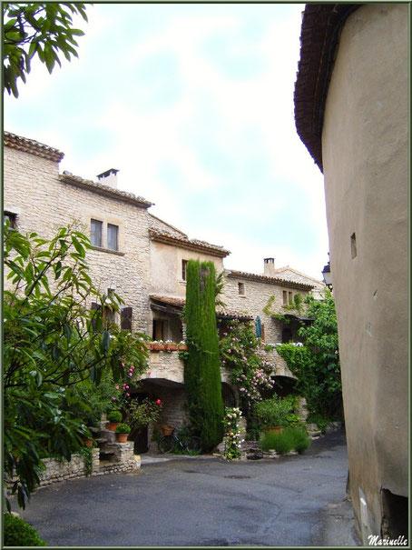 Ruelle verdoyante et fleurie avec ses belles bâtisses anciennes - Goult, Lubéron - Vaucluse (84)