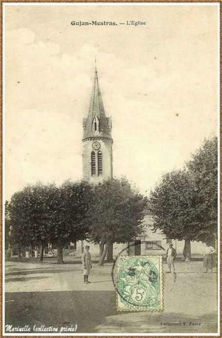 Gujan-Mestras autrefois : en 1907, l'Eglise Saint Maurice, Bassin d'Arcachon (carte postale, collection privée)