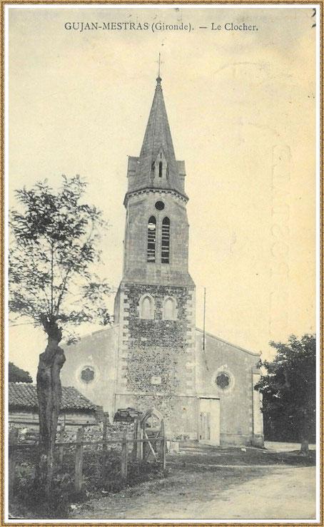 Gujan-Mestras autrefois : vers 1930, l'Eglise Saint Maurice, Bassin d'Arcachon (carte postale, collection privée)