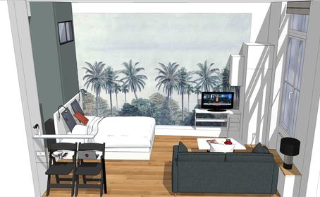Studio vue 3D, rénovation studio, studio parisien 3D, vue 3D studio, rénovation appartement, Studio 22m2, papier peint panoramique