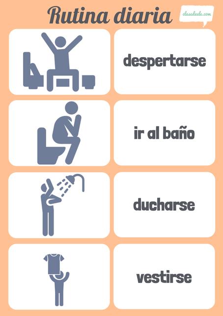 Rutina diaria Actividades cotidianas clase de español