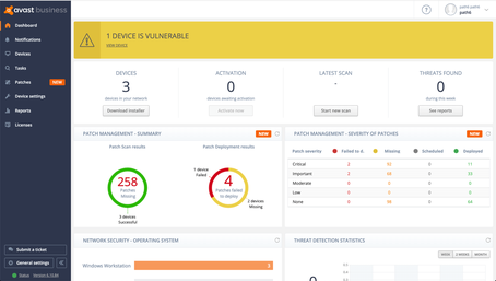 Avast Patch Management Dashboard