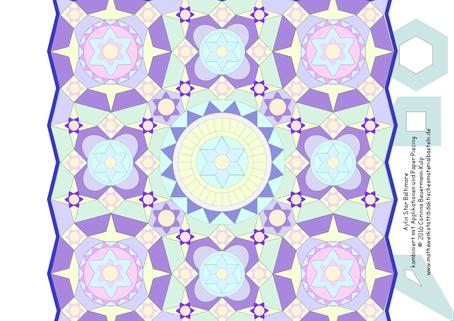 """Aylin Star kombiniert mit Hexagons, Kaleidoskopen und Quadraten + Applikationen und Paper Piecing! Das gleiche Muster, auf 45° Spitze gestellt, und die Wirkung ist total anders! Kantenlänge 230 cm mit """"Wellenrand"""""""