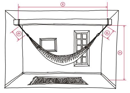 梁にロープでハンモックを設置する場合の距離X,Yのイラスト