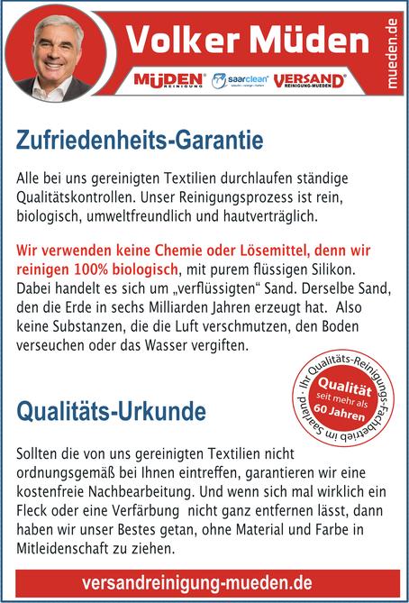 Versandreinigung-mueden.de, Qualitätsurkunde, Zufriedenheitsgarantie