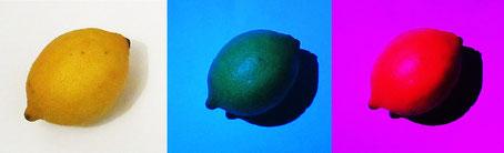 citron éclairé en lumière colorée
