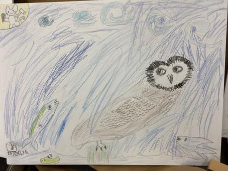 娘が描いたフクロウと魚