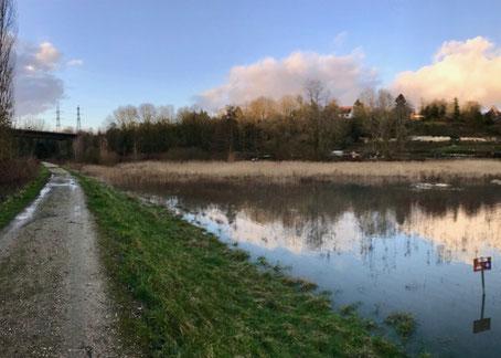 Bassin des Pâtis à Pontoise (95), régulant les crues de la Viosne.