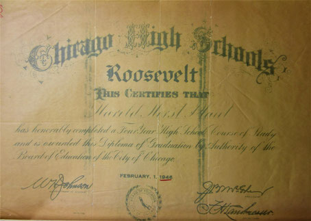 Harold Horsts Abschlusszeugnis an der Chicago High School