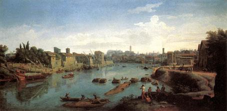 Il Tevere nei pressi del Porto di Ripa Grande in un quadro di Vanvitelli