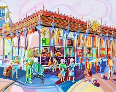 MERCADO DE SAN MIGUEL (MADRID).Oleo sobre lienzo. 73 x92 x 3,5 cm.