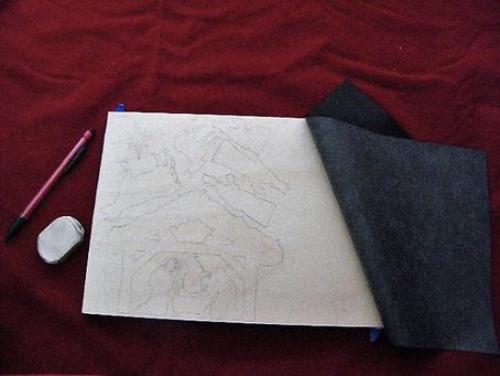 dessin de personnages d'une crèche au crayon sur une planche de bois A4