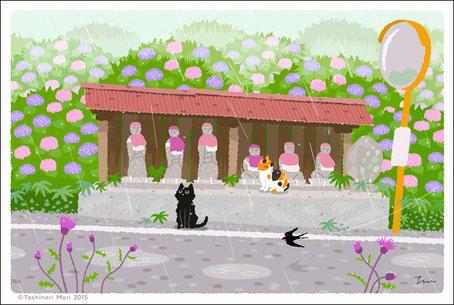 たびねこ2016カレンダーイラスト6月-雨の地蔵堂