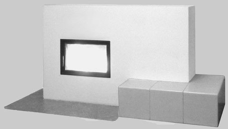 Ofen in Grundofentechnik - mit keramischer, beheizter Bank