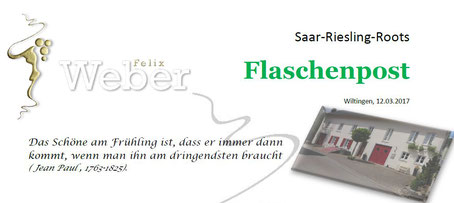 Newsletter Weingut Felix Weber, Wiltingen, Saar-Riesling-Roots, Flaschenpost,