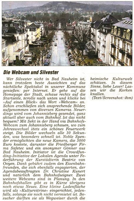 Bad Nauheim: Webcam und Silvester, Artikel und Foto: Petra Ihm-Fahle, WZ 28.12.2013