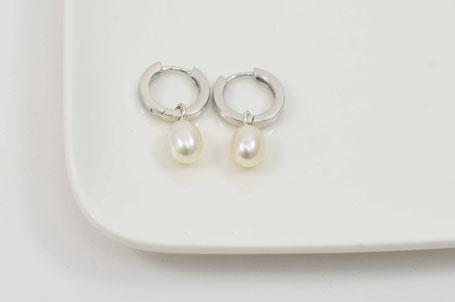 créoles en argent et perle / earrings sterling silver and pearl