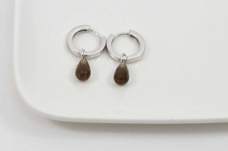 créoles en argent et pierre fine / earrings sterling silver and gemstone