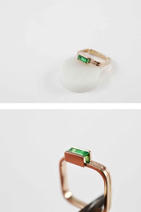 ring rosé goud-smaragd