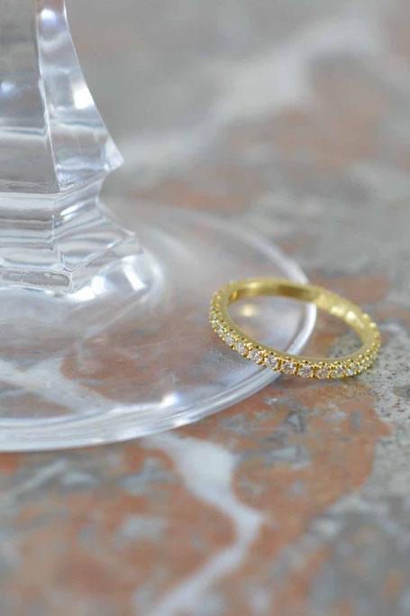 bague femme 2mm or jaune 18 carats et diamants