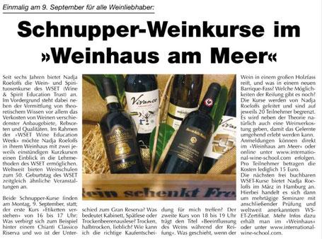 Schnupper-Weinkurse im Weinhaus am Meer (WSET)