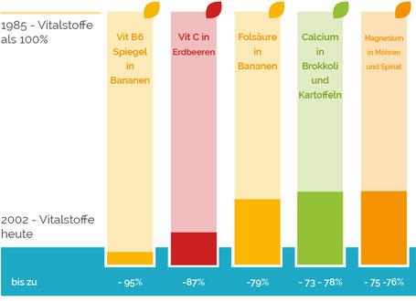 Grafik Abnahme der Vitalstoffe in Lebensmitteln, Obst und Gemüse 1985 zu 2002