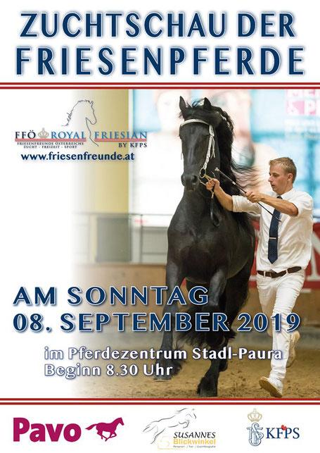 Plakat Zuchtschau der Pferde Stadl Paura