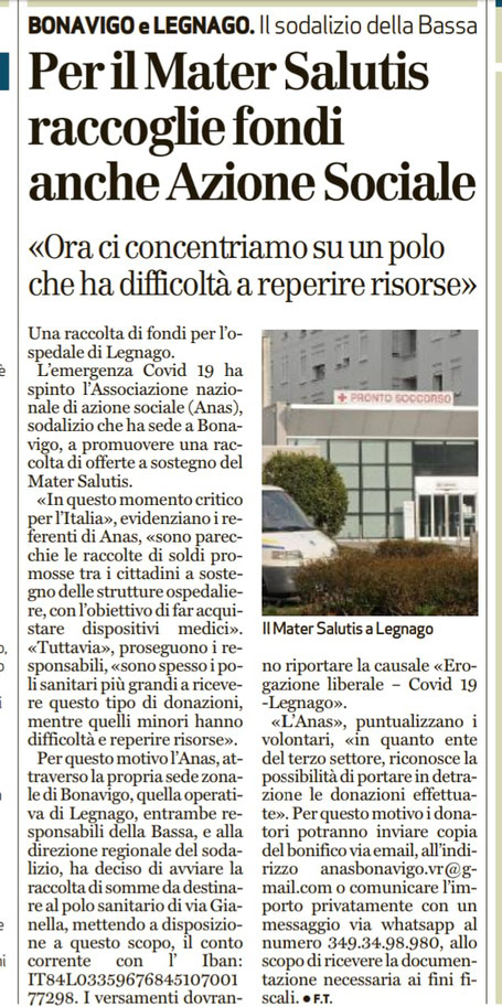 Dal quotidiano l'Arena del 27.3.2020