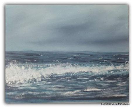 Maritime Malerei der Nordsee bei trüben Wetter. Meeresgemälde online kaufen.