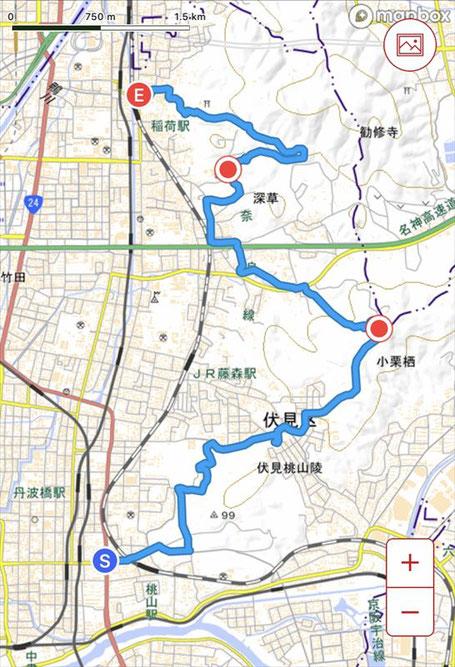 【京都トレイル】東山コース深草トレイル(伏見桃山→伏見稲荷大社)