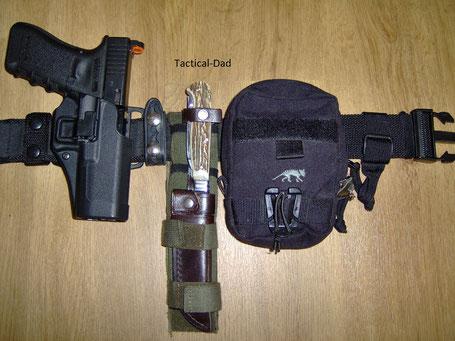 Das was ich immer zum Jagdschutz am Gürtel habe: Glock 17, Puma Waidmesser und eine TT-Tasche für Kleinteile (Munition, Kompass, Pfeife, Gummihandschuhe, Lampe, Gehörschutz)