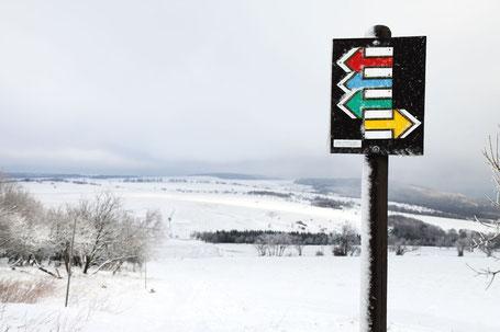 Schneelandschaft mit Wegweiser