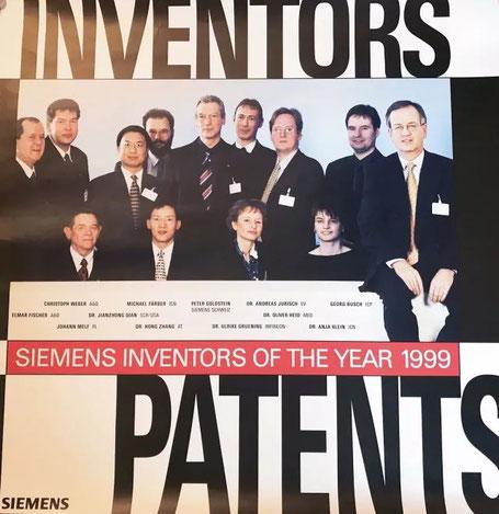 西门子公司 1999 年年度发明人 张宏博士(前排左二)