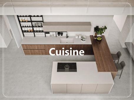 cuisine allemande Italienne moderne design contemporaine blanche noir coloré bois chêne